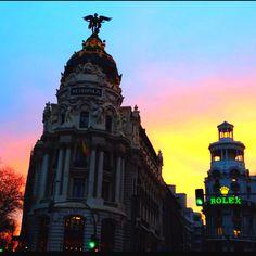 Madrid's skies.- Sunset at Gran Vía.