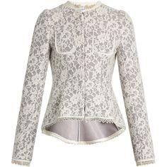 Erdem Gabrielle lace-neoprene peplum jacket ($1,185) ❤ liked on Polyvore featuring outerwear, jackets, grey white, lace peplum jacket, gray jacket, erdem, pleated jacket and grey peplum jacket