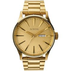 Nixon Sentry Stainless Steel Watch ($255) ❤ liked on Polyvore featuring men's fashion, men's jewelry, men's watches, apparel & accessories and gold