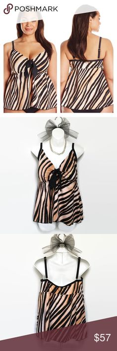 """Maxine of Hollywood Animal Print Tankini This is a gorgeous feathered animal gold foil print, full flyaway tankini top with tie front. Color is described as Java. It has soft cup bra, and over the shoulder adjustable straps. This is just a tankini, no bottoms are included. Material is nylon/elastane blend.  Size: 24W Bust: Approximately 40"""" - Unstretched Length: Approximately 17"""" - Armpit to hem.  New with tags. Maxine of Hollywood Swim"""