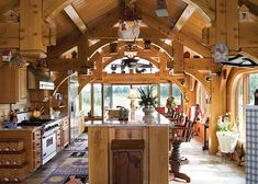 ultimate getaway home timber frame home kitchen by riverbend timber framing