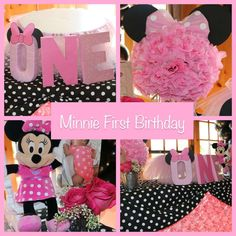 Pink Minnie Mouse first birthday party! See more party ideas at CatchMyParty.com!