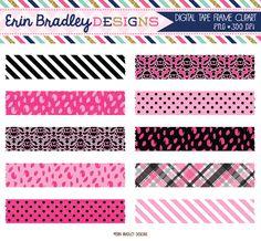 Pink and Black Digital Washi Tape Clip Art Graphics