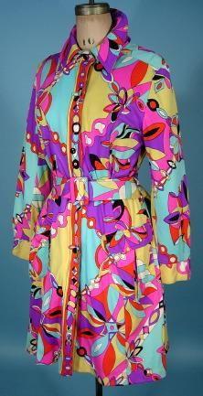 """c. 1960's DRIZZLE / I. Magnin  """"Pucci"""" Look Coat"""