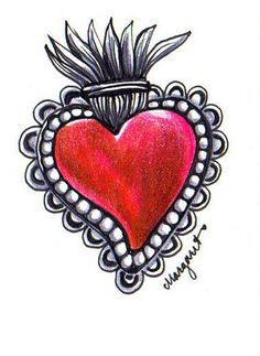 or Sacred Heart. Milagros (also known as an ex-voto or dijes) are religious folk cha. Tatto Ink, I Tattoo, Sacred Heart Tattoos, Gift Wrapping Bows, Jesus Tattoo, Tin Art, Mexican Folk Art, Heart Art, Rock Art