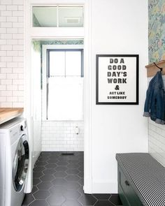 A little Monday motivation! ​Design by @newhomeoldsoul. #thetileshop #hexagontile #laundryroom Home, New Homes, Room Remodeling, Room Tiles, The Tile Shop, Flooring, Laundry Room Tile, Mudroom Laundry Room, Porcelain Flooring