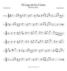 The Swan Lake - Tchaikovski Trombone Sheet Music, Violin Music, Piano Sheet Music, Music Sheets, Oboe, Piano Lessons, Music Lessons, Piano Songs, Music Score