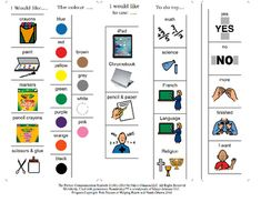 Cards for student to communicate needs for tools to use during art class, or for tools to use during other academic blocks or a smaller basic communication sheet (yes, no, I want, finished etc,)Program independently created and copyrighted by Erin Duncan of Helping Hearts and Hands Ottawa 2016.All Images copyright of.Mayer-Johnson2100 Wharton StreetSuite 400Pittsburgh, PA 15203Phone: 1 (800) 588-4548Fax: 1 (866) 585-6260Email: mayer-johnson.usa@mayer-johnson.comWeb site: www.mayer-johnson.com Mayer Johnson, Pecs Pictures, Special Education Classroom, Student Teaching, Autism, Communication, Language, Parenting, Teacher