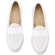 Palomitas - YLENIA White intrecciato leather flatform loafers ($160) ❤ liked on Polyvore featuring shoes, loafers, platform shoes, platform wedge shoes, woven leather shoes, white platform shoes and flatform loafers