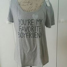 Gray Boyfriend TSHIRT Cute Tshirt. Glitter raised heart. Beaded raised up writing. Low neck. Lane Bryant Tops Tees - Short Sleeve
