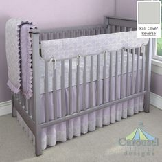 Crib bedding in Lilac and Silver Gray Damask, Solid Silver Gray, Lavender Linen, Solid Lilac Minky, Solid Lilac. Created using the Nursery Designer® by Carousel Designs where you mix and match from hundreds of fabrics to create your own unique baby bedding. #carouseldesigns