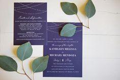 An Elegant Navy & White Carillon Beach Wedding via TheELD.com | Beautiful purple wedding invitations | Carillon Weddings