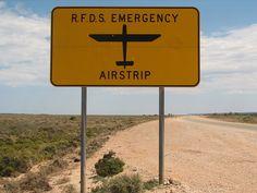 Royal Flying Doctor service emergency landing strip sign, Australia