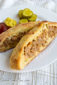 Low Carb Grain Free Bacon Cheeseburger Calzone - the crust recipe here has tapioca flour which isn't low carb. Use the fathead pizza crust or uplateanyway's crust instead.