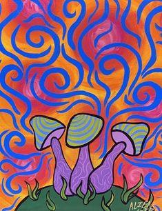 Indie Kunst, Arte Indie, Indie Art, Indie Drawings, Trippy Drawings, Psychedelic Drawings, Simple Canvas Paintings, Small Canvas Art, Mini Canvas Art