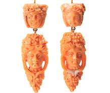 Bacchanalian Delight in an Italian Coral Earring