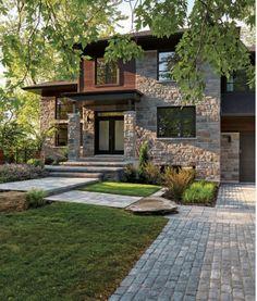 Small House Design, Dream Home Design, Modern House Design, Modern House Facades, Luxury Homes Dream Houses, Dream House Exterior, Stone Houses, Facade House, Exterior Design