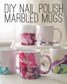 DIY Crafts Using Nail Polish - Fun, Cool, Easy and Cheap Craft Ideas for Girls, Teens, Tweens and Adults | DIY Nail Polish Marbled Mugs