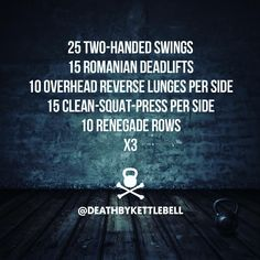 ⚫ Here's a kettlebell workout to challenge yourself with: 25 Two-handed swings 15 Romanian deadlifts 10 Overhead lunges per side 15 Clean-squat-press per side 10 Renegade rows x3 Always use kettlebells sized appropriate to your strength and fitness level.