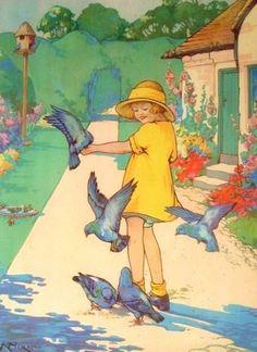 Vintage Illustration- bluebirds
