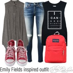 Emily Fields inspired outfit/PLL by tvdsarahmichele on Polyvore featuring Vera Wang, rag & bone, Converse and JanSport