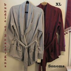 Cozy belted LS cardigan (2) buy 1 or both! 2 NWT SONOMA Lifestyle open front cardigans, belted with huge front pockets - 1 Salty Gray ◻, 1 Mauve Wine .  Made in Indonesia with 60% Cotton / 40% Polyester.  From SFPF home.  ***SPECIAL BUNDLED PRICE FOR PURCHASE OF BOTH: $17 (BOGO 1/2 OFF)*** Sonoma Sweaters Cardigans