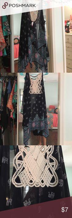 Crochet lace and flowy vest Colorful printed vest size large No Boundaries Jackets & Coats Vests