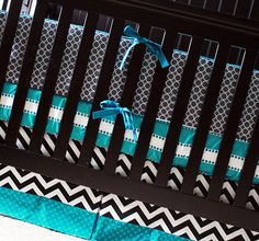 Custom Crib bedding - Grey, Turquoise, and Black Baby Bedding on Etsy, $407.44