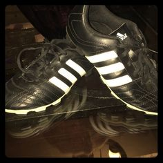 Adidas Soccer Cleats for kids Worn one time! Adidas black and white soccer cleats. Comes with soccer socks. Size 2.5 US Adidas Shoes Athletic Shoes