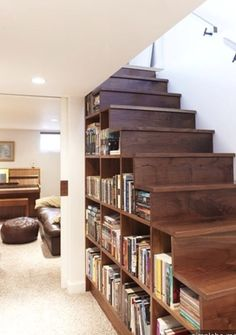 Another under stair book storage idea