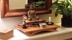 Buddhist Altar and Buddha Stand combo with your choice of 3 different wood species. NOW ENVIRONMENTALLY FRIENDLY
