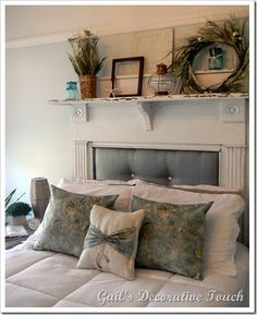 Headboard ideas--love this reclaimed mantle.