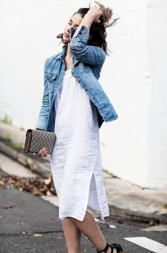 Denim jacket and white dress