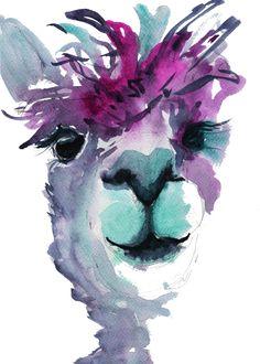 Jose The Alpaca wall art, watercolour, colourful alpaca print Lama Bilder, Alpaca Gifts, Llama Arts, Llama Llama, Nursery Prints, Nursery Wall Art, Llamas, Watercolor Animals, Watercolor Art