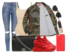 """Supreme, Chanel and TOPSHOP"" by camrzkn ❤ liked on Polyvore featuring Topshop, SPANX, Chanel, NIKE, Apple and Christian Dior"