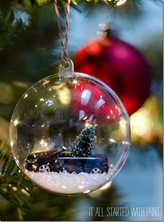 Christmas ornament DIY featuring car with bottle brush tree.  #GiftGroupon #ad