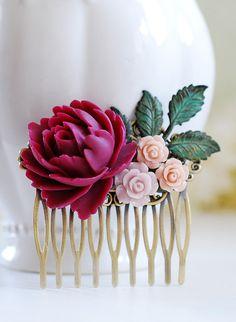 Purple Maroon Plum Rose Pink Rose Verdigris Blue Brass