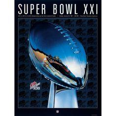 """Fanatics Authentic 1987 Giants vs. Broncos 36"""" x 48"""" Canvas Super Bowl XXI Program"""