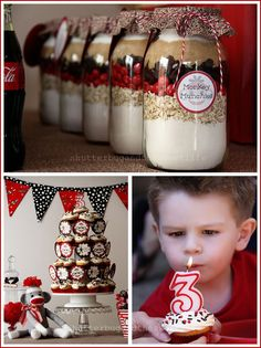 """I love these sock monkey themed """"Monkey Munchies"""" cookie mix in a jar favors."""