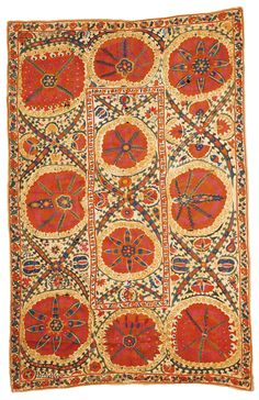 Large medallion Suzani embroidery, Uzbekistan, third quarter 19th c.