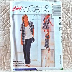 8178 McCALLS Uncut PATTERN 1996 Women Loose Pullover Dress Top Boxy Jacket Side Slits Elastic Waist Pants Shorts Size 12 14 16 3-oz