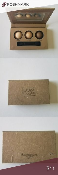 Laura Geller baked eyeshadow trio Brand new, baked eyeshadow in neutral tones with satin and shimmering textures.   Never used.   Sorry no trades Laura Geller Makeup Eyeshadow