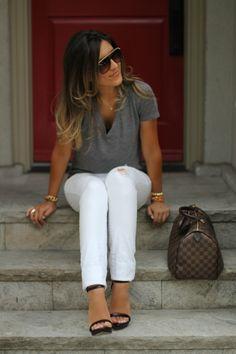 Gray v-neck t-shirt, white denim, wedges