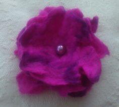 HANDMADE WET FELT Flower Wool Brooch Corsage Fuschia Purple 4inches by KelliesFelt on Etsy