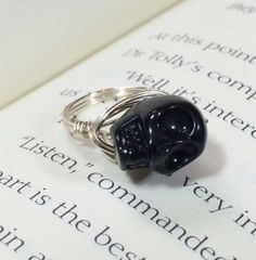 Childs black skull ring by OnTheWireByMaryJane on Etsy, $5.00