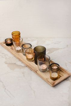 Wood Tray with 9 Votive Holders 22in