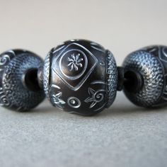 Faux Ebony Hand Scribed Polymer Clay Beads