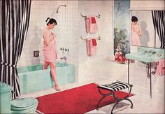 Aqua!!! | 1956 American Standard Bathroom | Published in American Home magazine. White and aqua with red and pink. My mother went to her grave swearing pink and red didn't go together. I could never figure that one out.