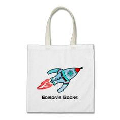 Rocket kids named id library tote bag  Click on photo to purchase. Check out all current coupon offers and save! http://www.zazzle.com/coupons?rf=238785193994622463&tc=pin