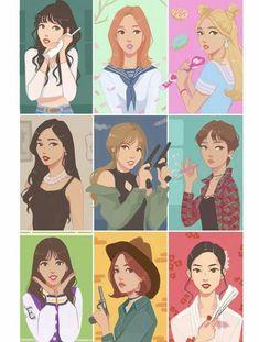 TWICE fanart Nayeon Jeongyeon Mina Sana Momo Dahyun Tzuyu Chaeyoung Jihyo Kpop Drawings, Cute Drawings, Nayeon, Fan Art, Walpapers Cute, Chibi, Twice Album, Twice Fanart, Pop Photos